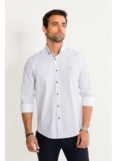 Avva Erkek  Baskılı Düğmeli Yaka Slim Gömlek A01S2236 Beyaz